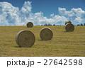 牧草 ロール 畑の写真 27642598