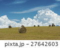 牧草 ロール 畑の写真 27642603