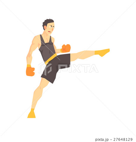 Man In Boxing Gloves And Black Uniform Kickboxing 27648129