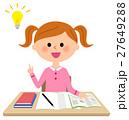 勉強する女の子 ひらめく 27649288