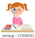 勉強する女の子 虫眼鏡 27649291