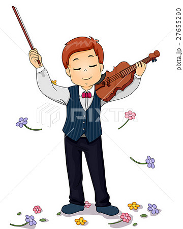 Kid Violin Perform Flowers 27655290