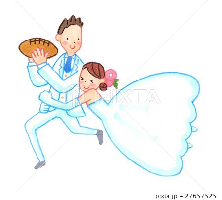 ラグビーをするウェディング姿のカップル 27657525