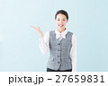 事務の女性(青背景) 27659831