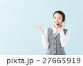 コールセンター 女性(青背景) 27665919