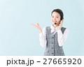 コールセンター 女性(青背景) 27665920