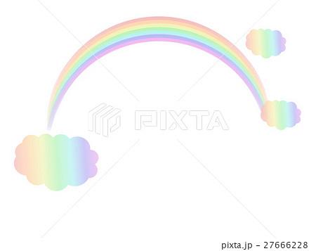 空にかかる虹と雲のイメージイラストメッセージにのイラスト