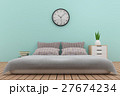 bedroom interior design in blue tone in 3D render 27674234