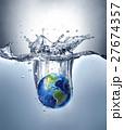 Planet Earth, splashing into water. 27674357
