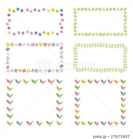 花と葉、小鳥のフレーム デザイン素材 27675897
