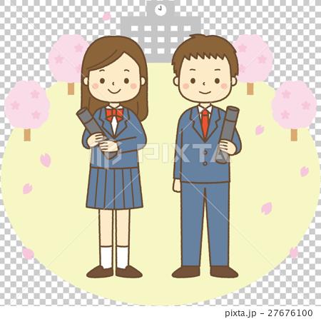 卒業 男の子と女の子 背景 27676100