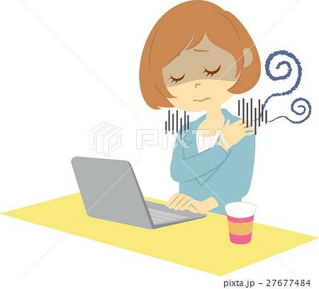 デスクワークの女性肩こりのイラスト素材 27677484 Pixta
