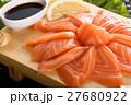 Presentation of raw fresh salmon sashimi 27680922
