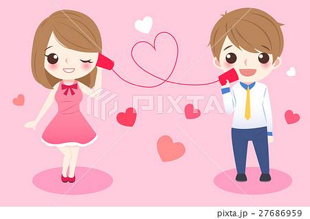 cartoon couple take can phone 27686959