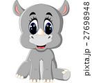 Cartoon cute rhino sitting 27698948