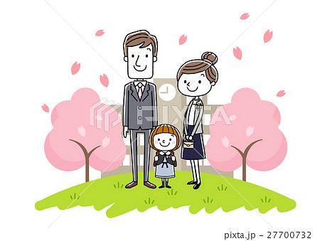 入学式イメージ:両親と女の子 27700732