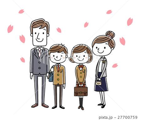 入学式イメージ:両親と男の子と女の子 27700759