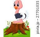 Cartoon happy ostrich sitting on tree stump 27701035