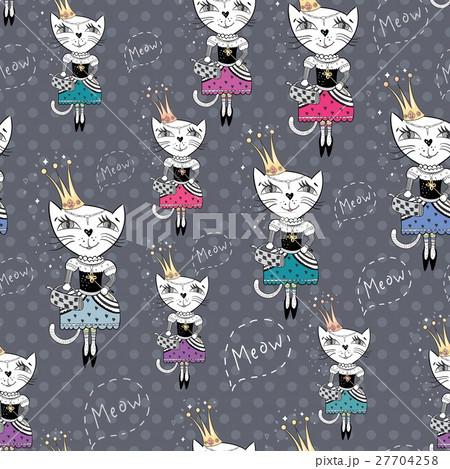 Fashion Cat Vector Patternのイラスト素材 [27704258] - PIXTA