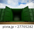 Green open cargo containers in the row 27705282