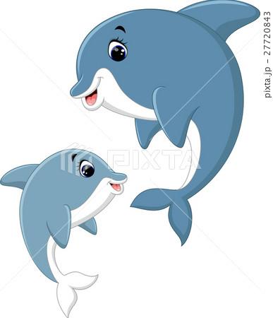 Cute dolphin couple cartoonのイラスト素材 [27720843] - PIXTA