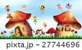 Scene with fairies flying around mushroom houses 27744696