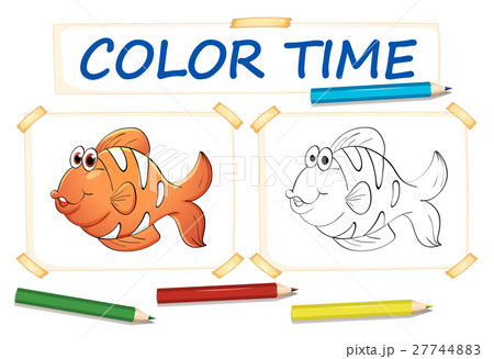 coloring template with clownfishのイラスト素材 27744883 pixta