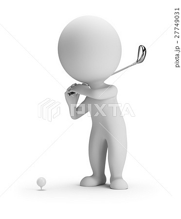 3d small people - golfing 27749031