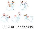ウェディング姿でスポーツをするカップルのセット 27767349
