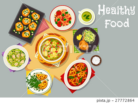 Healthy food dishes icon for lunch menu design 27772864