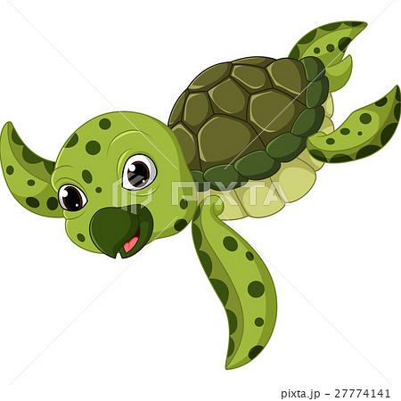 cute sea turtle cartoonのイラスト素材 27774141 pixta