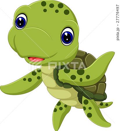 cute sea turtle cartoonのイラスト素材 27776497 pixta
