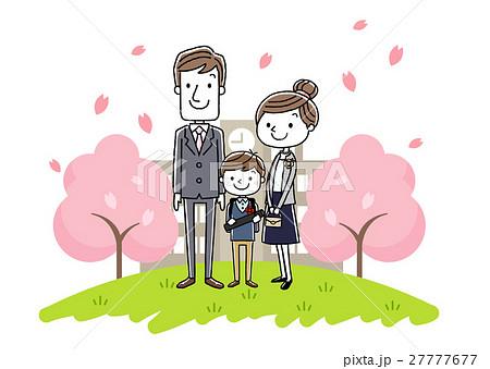 卒業式イメージ:両親と男の子 27777677