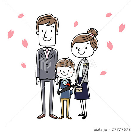 卒業式イメージ:両親と男の子 27777678