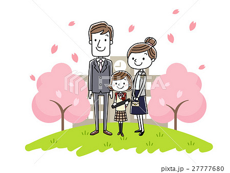 卒業式イメージ:両親と女の子 27777680