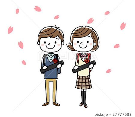 卒業式イメージ男の子と女の子のイラスト素材 27777683 Pixta