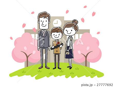 卒業式イメージ:両親と男の子 27777692