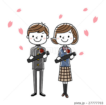 卒業式イメージ:男の子と女の子 27777703