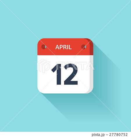 April 12. Isometric Calendar Icon With Shadow 27780752
