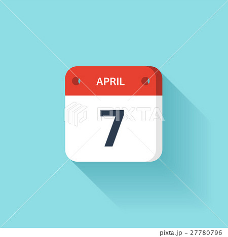 April 7. Isometric Calendar Icon With Shadow 27780796