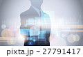 Silhouette Business Man Using Digital Touch Screen 27791417