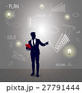 Silhouette Business Man With Sketch Financial 27791444