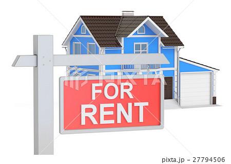 house for rent concept 3d renderingのイラスト素材 27794506 pixta