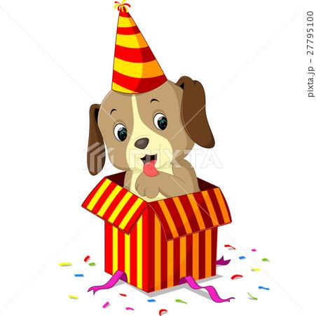 Dog cartoon coming out of gift box 27795100 pixta dog cartoon coming out of gift box negle Image collections