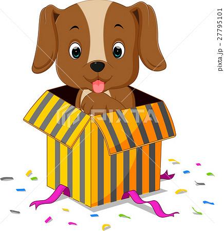 Dog cartoon coming out of gift box 27795101 pixta dog cartoon coming out of gift box negle Image collections