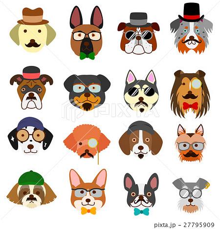 おしゃれな犬の顔セットのイラスト素材 27795909 Pixta