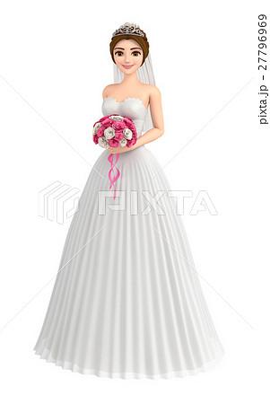 ウエディングドレスを着たかわいい花嫁