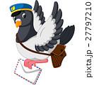 Cartoon funny pigeon bird delivering letter 27797210