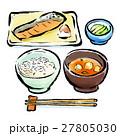 朝ご飯 和食 筆描きのイラスト 27805030