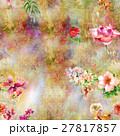 Watercolor painting of leaf and flowers pattern 27817857